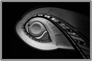 2nd Place Monochrome - Up the Down Staircase - by Wayne Bennett