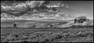 Monochrome 2nd Storm Brewing Over Monument Valley by Wayne Bennett